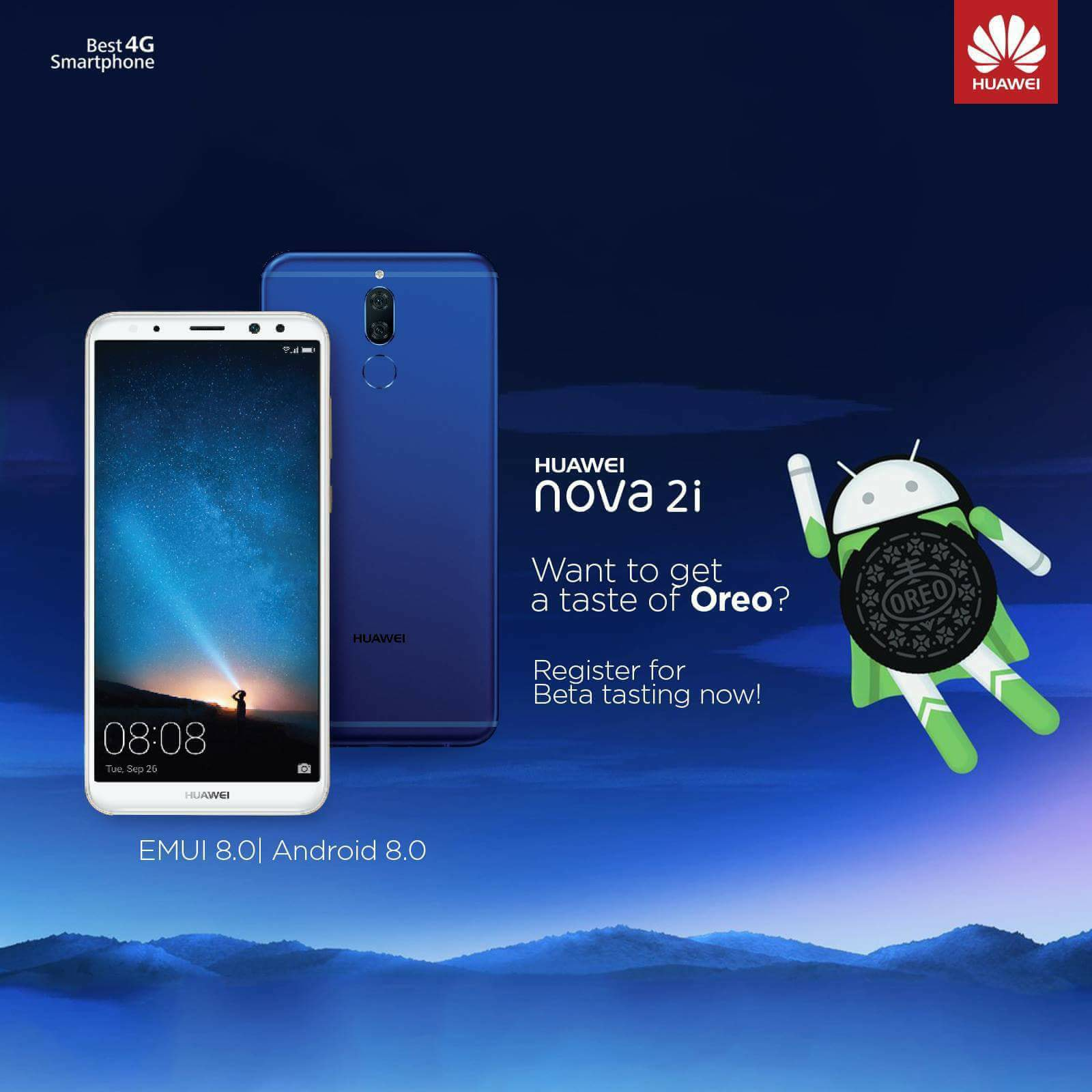 Want to be the first one to taste Oreo on Nova2i? If so, fill up the google form and register for beta tasting now!  Form Link: https://www.tomtop.com/brands-huawei-2137/?aid=sqttseo Registration deadline: 5 March, 2018.... For Oreo update u must have version RNE-L22C636B142. Everyone will get Oreo update soon.