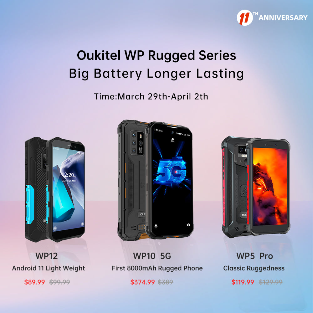 Get the best price during AliExpress's 11th Anniversary promotion. Add #Oukitel WP rugged series to cart to have the chance to win the smartwatches.