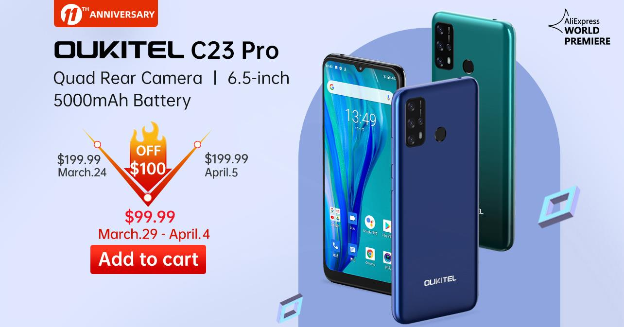 Get ready to avail 50% Off offer📣📣 The new simple, smart and affordable smartphone #OukitelC23Pro will available at $99.99 from Mar.29- Apr.4 Add to cart now and checkout tomorrow 🛒: www.tomtop.com