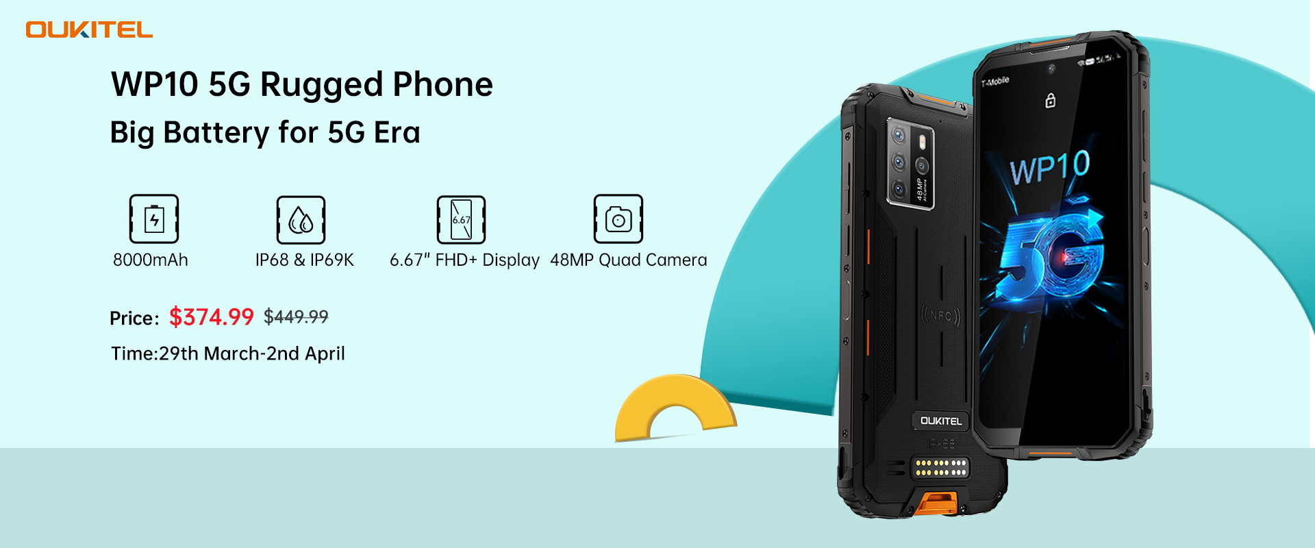 Here is your chance to get #WP10 5G Rugged Phone at the most affordable price 📣📣 During 11th Anniversary sale, the world's first 5G King Battery rugged phone, #OukitelWP10 will be available at just $374.99 only ( Regular Price: $449.99) 🎉🎉 Don't miss the chance to upgrade yourself and dive into the world of 5G🚀...