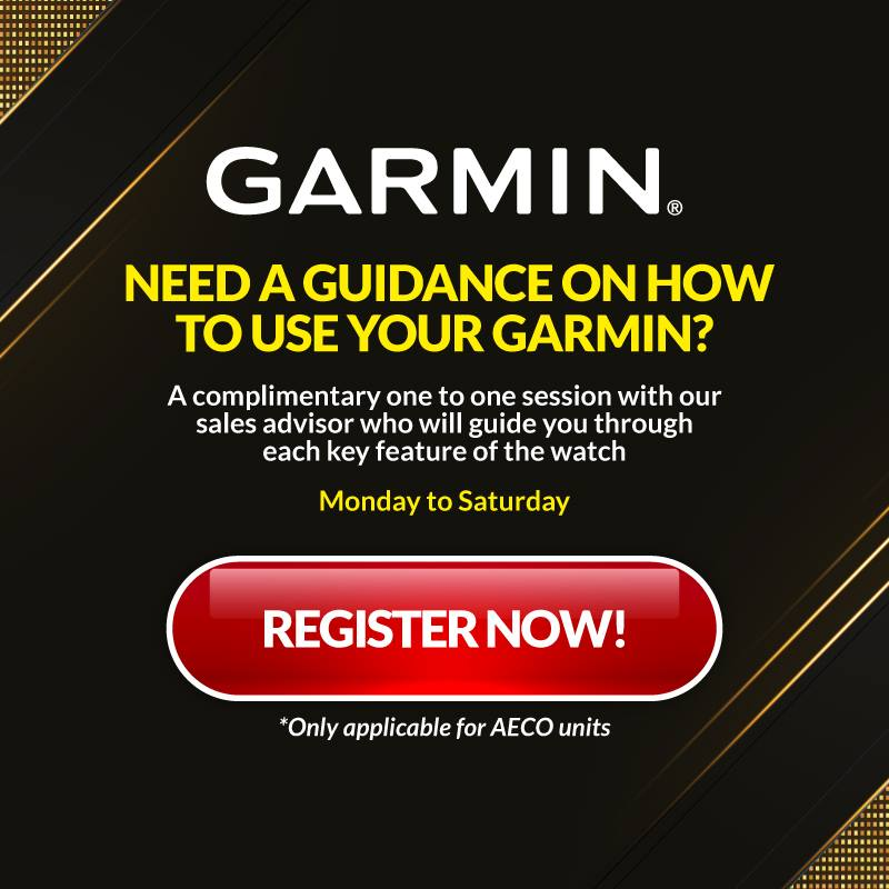 Take part in our 1-to-1 guidance session for an in-depth tutorial with our sales advisor on how to harness the amazing key features of your Garmin device. Guidance sessions are available for booking from Monday to Saturday. Check out the available time slots at:
