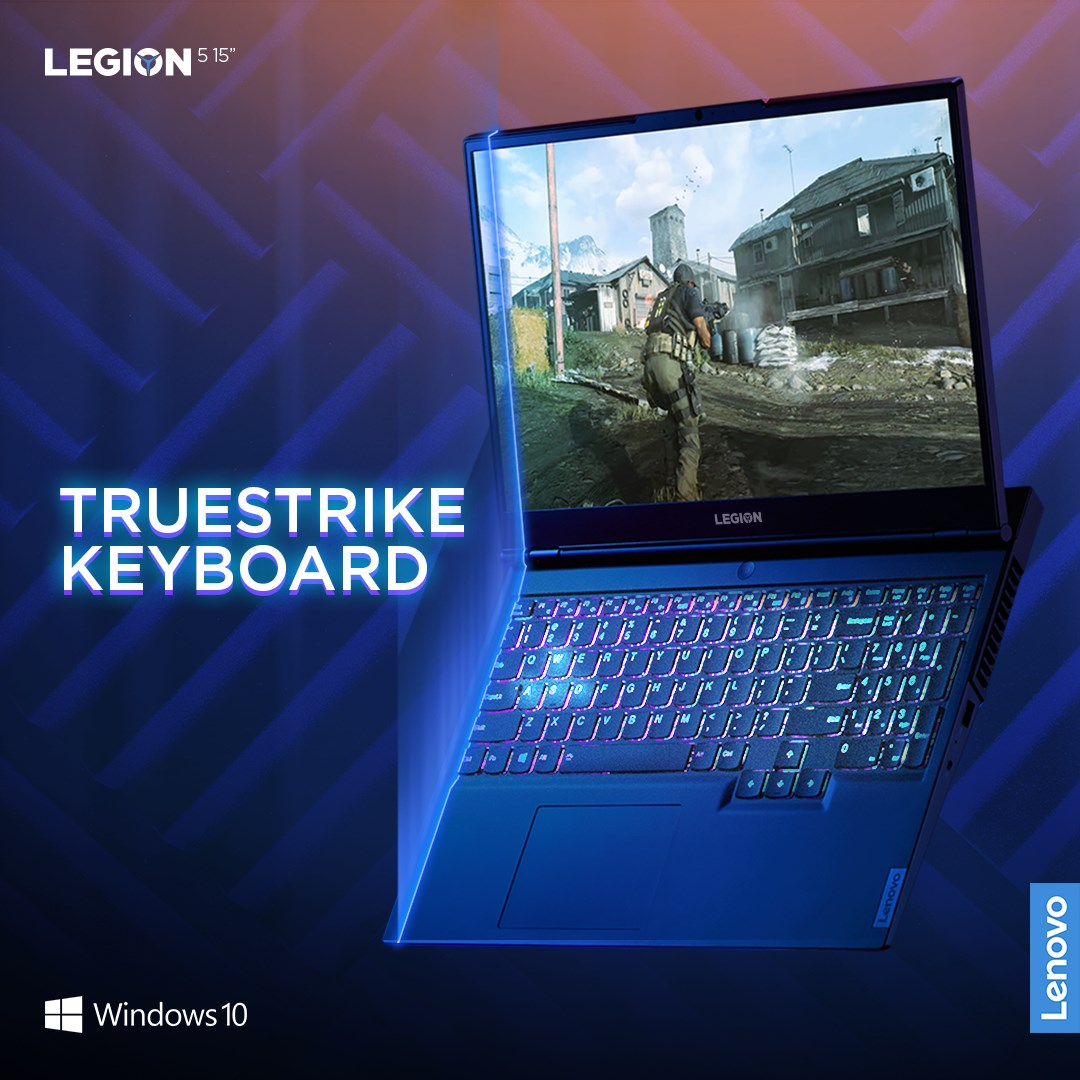 The Legion 5's TrueStrike keyboard features soft landing switches with 1.5mm key travel distance, dedicated media keys, number pad, larger arrow keys and a one piece trackpad. Now available with optional 4 Zone RGB backlighting.